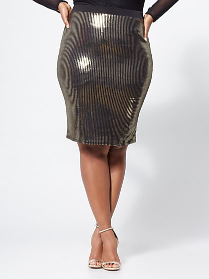 Plus Size Trinity Gold Pencil Skirt - Fashion To Figure