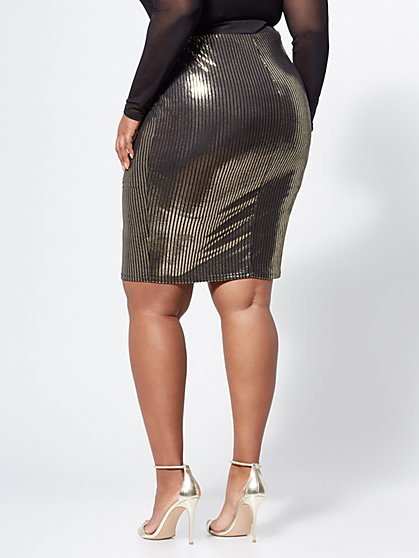 3bffbc64a8d87d ... Plus Size Trinity Gold Pencil Skirt - Fashion To Figure