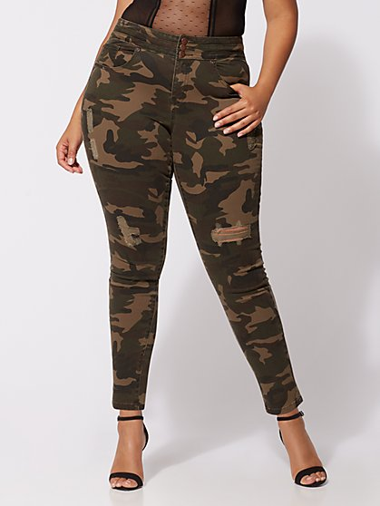 Plus Size Triple Stack High-Waist Jeans - Camo - Fashion To Figure