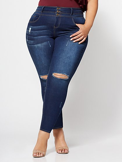 Plus Size Triple Stack High-Waist Jeans - Dark Wash - Fashion To Figure
