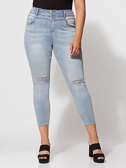 Plus Size Triple Stack High-Waist Jeans - Light Wash - Fashion To Figure