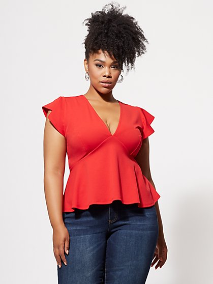 Plus Size Trisha Flutter-Sleeve Crop Top - Fashion To Figure
