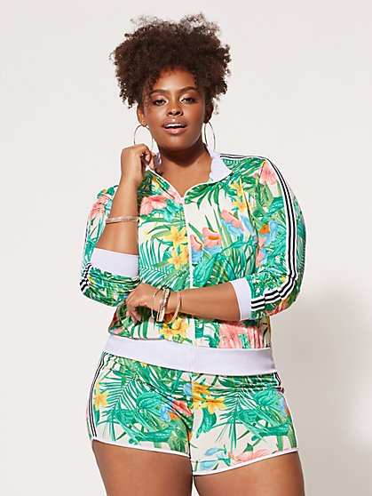 Plus Size Tropical Bomber Jacket - Fashion To Figure