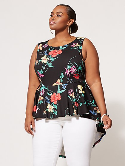 Plus Size Tropical Peplum Top - Fashion To Figure