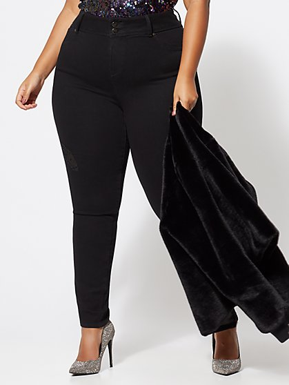 Plus Size Two-Button Destructed Skinny Jeans - Fashion To Figure