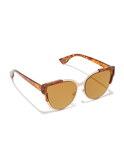 Plus Size Two Tone Tortoise Cat Eye Sunglasses - Fashion To Figure