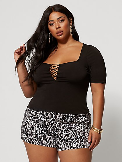 Plus Size Ulla Square Neck Lace-Up Top - Fashion To Figure
