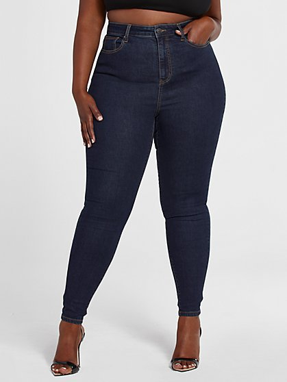 Plus Size Ultra High Rise Dark Wash Skinny Jeans - Fashion To Figure