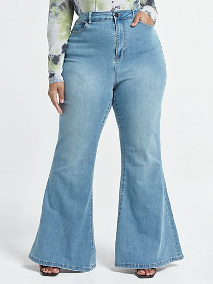 Plus Size Ultra High-Rise Flare Leg Jeans - Short Inseam - Fashion To Figure