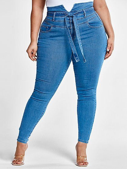 Plus Size Ultra High Rise Tie Front Skinny Jeans - Short Inseam - Fashion To Figure