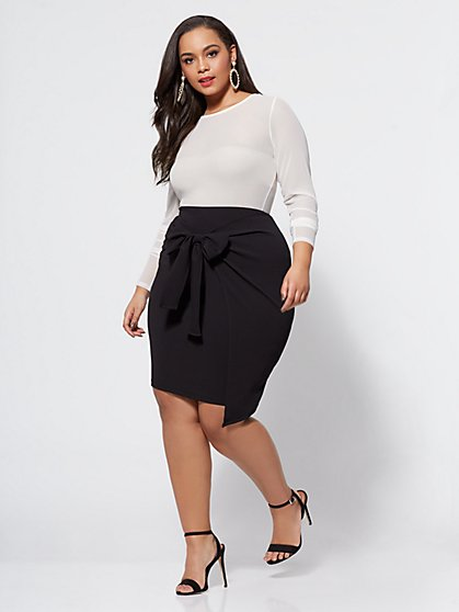 Plus Size Valencia Bow Detail Skirt - Fashion To Figure