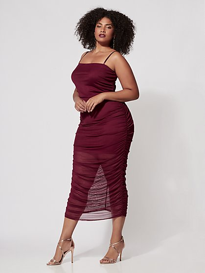 Plus Size Valentina Mesh Midi Dress - Fashion To Figure