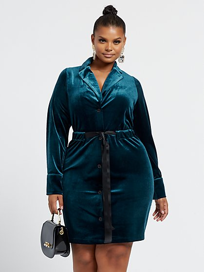 Plus Size Valentina Ribbon Belt Velvet Dress - Fashion To Figure