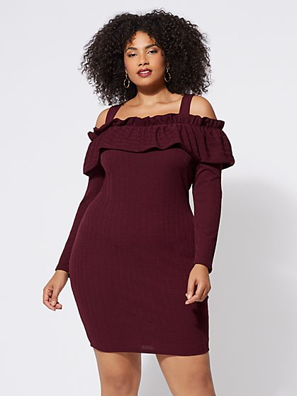 Plus Size Valerie Cold-Shoulder Sweater Dress - Fashion To Figure
