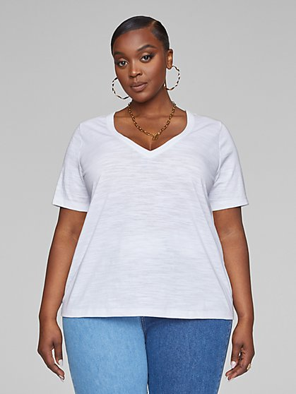 Plus Size Valery Short Sleeve V-Neck Tee - Fashion To Figure