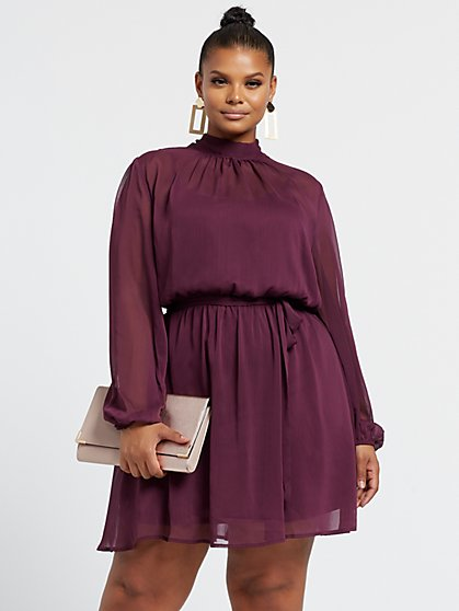 Plus Size Vanessa Bow Back Flare Dress - Fashion To Figure