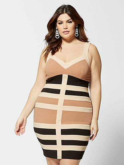 Plus Size Vanessa Colorblock Bodycon Dress - Fashion To Figure