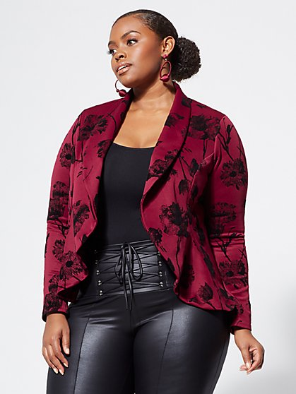 Plus Size Velvet Floral Blazer - Fashion To Figure