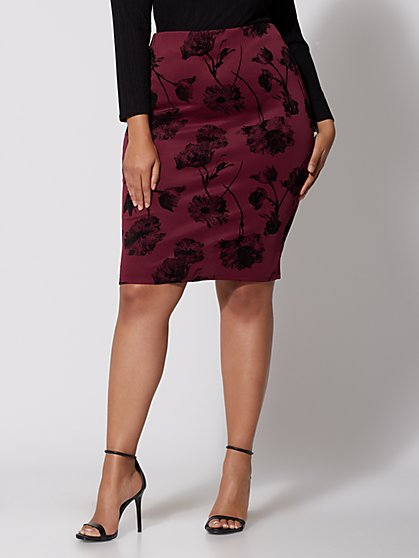 Plus Size Velvet Floral Pencil Skirt - Fashion To Figure