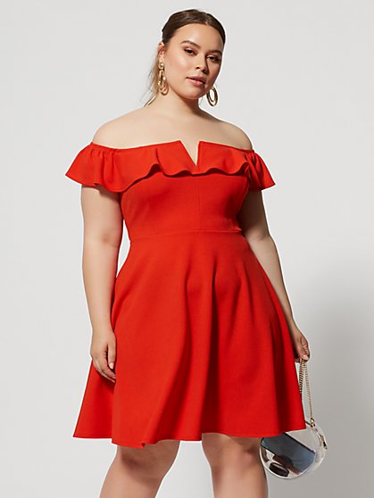 Plus Size Venezia Off Shoulder Flare Dress - Fashion To Figure