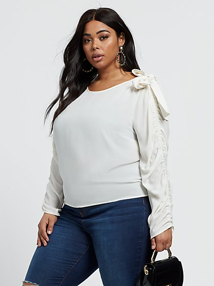 Plus Size Verity Ruched Sleeve Bow Shoulder Top - Fashion To Figure