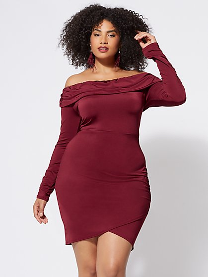 Plus Size Veronica Off-Shoulder Bodycon Dress - Fashion To Figure