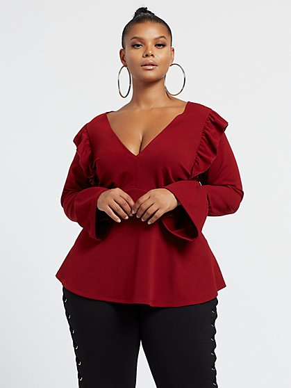 Plus Size Vicky Flutter Sleeve Peplum Top - Fashion To Figure