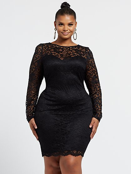 Plus Size Victoire Lace Bow Back Dress - Fashion To Figure