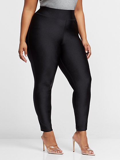 Plus Size Vienna Shiny Black Leggings - Fashion To Figure