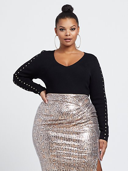 Plus Size Vikki Stud Detail Bodysuit - Fashion To Figure