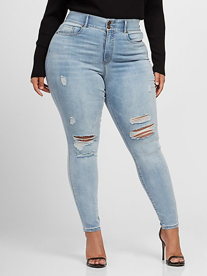 Plus Size Vintage Wash Destructed Classic Curvy Skinny Jeans - Fashion To Figure