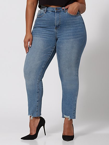 Plus Size Vintage Wash High-Rise Straight Leg Jeans - Fashion To Figure