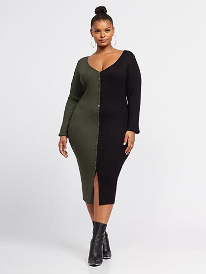 Plus Size Viola Two-Tone Sweater Dress - Fashion To Figure