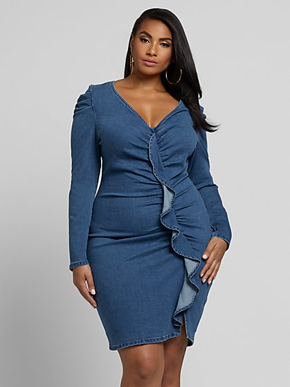 Plus Size Violet Ruffle Front Denim Dress - Fashion To Figure