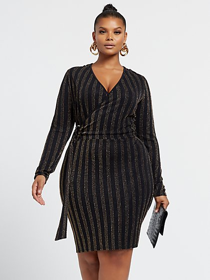 Plus Size Virginia Metallic Stripe Belted Dress - Fashion To Figure
