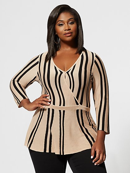 Plus Size Vita Stripe Peplum Sweater - Fashion To Figure