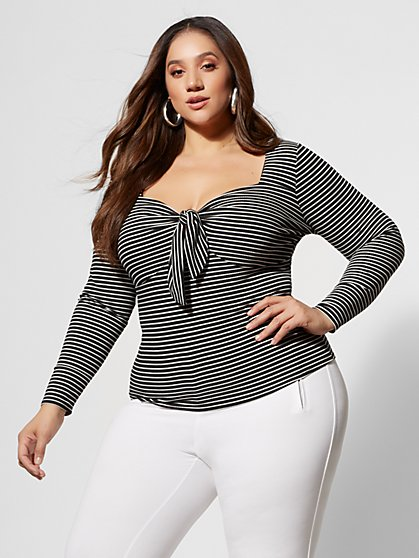 Plus Size Vita Striped Bow-Front Top - Fashion To Figure