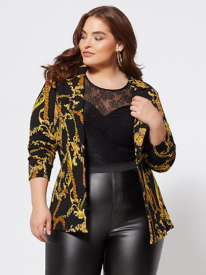 Plus Size Viv Status-Print Blazer - Fashion To Figure