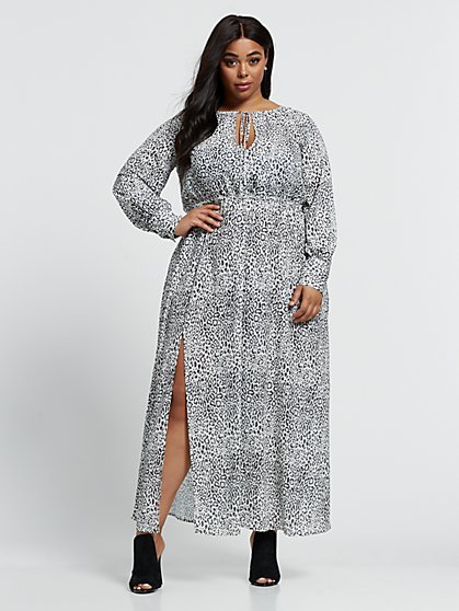 Plus Size Vivian Animal Print Maxi Dress - Fashion To Figure