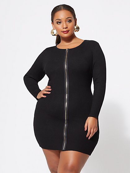 Plus Size Vivienne Zip-Front Sweater Dress - Fashion To Figure