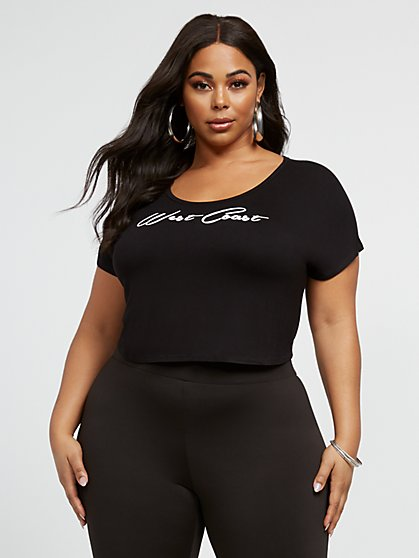 Plus Size West Coast Crop Tee - Fashion To Figure