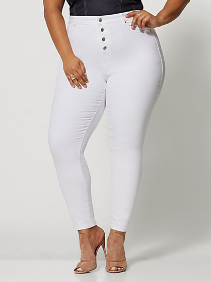 Plus Size White 4 Button High-Rise Skinny Jeans - Short Inseam - Fashion To Figure