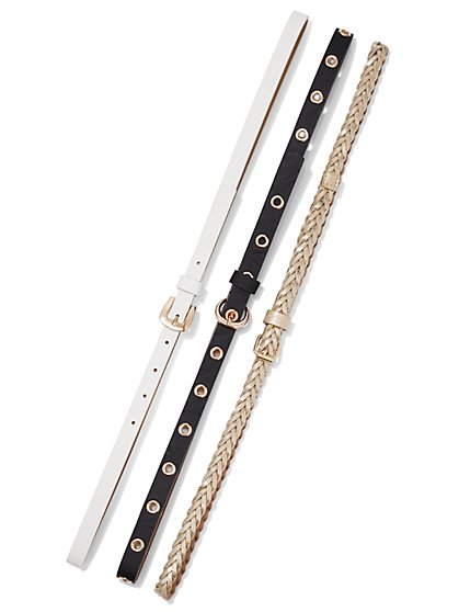Plus Size White Black & Gold Belt Trio - Fashion To Figure