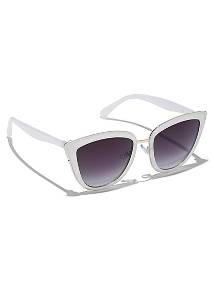 Plus Size White Cat Eye Sunglasses - Fashion To Figure