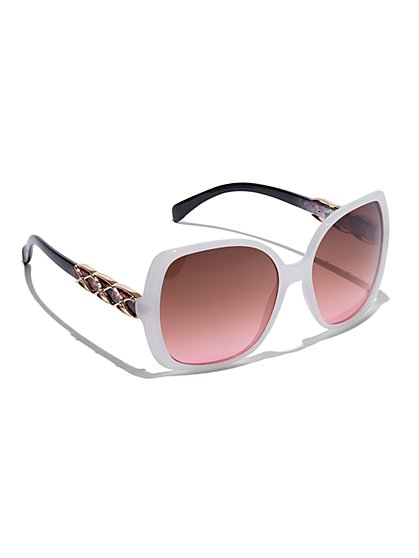 Plus Size White Chain Side Sunglasses - Fashion To Figure