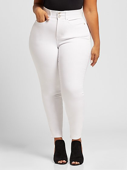Plus Size White Classic Curvy Skinny Jeans - Fashion To Figure