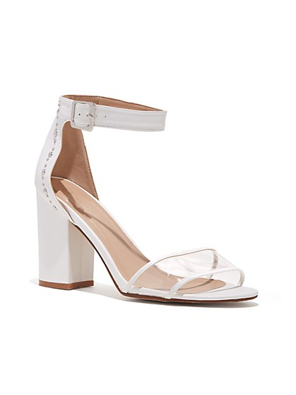 Plus Size White Clear Strap Heels - Wide Width - Fashion To Figure