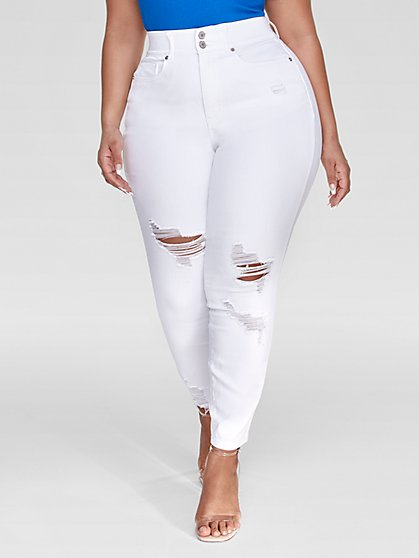 Plus Size White Curvy Distressed Ankle Length Skinny Jeans - Fashion To Figure