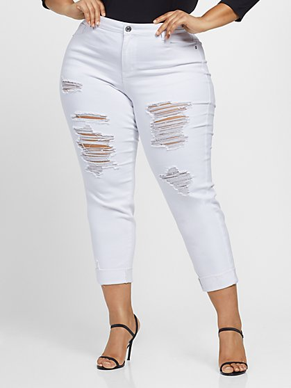 Plus Size White Destructed Girlfriend Jeans - Fashion To Figure