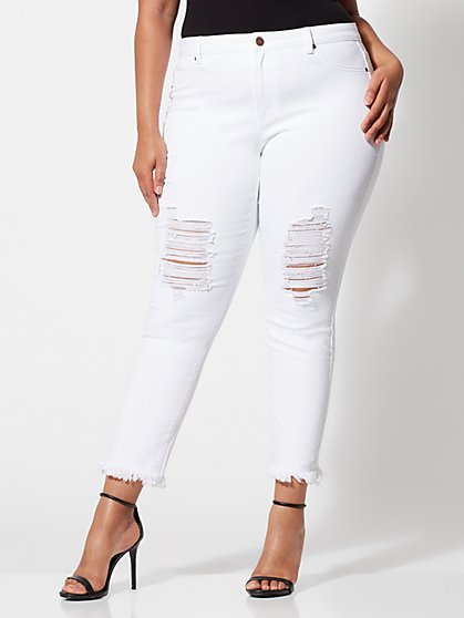 Plus Size White Destructed Skinny Jeans - Fashion To Figure